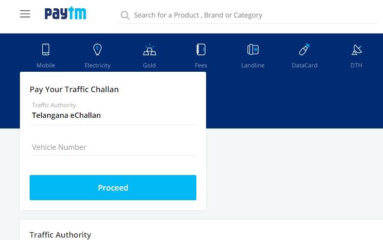pay Ts traffic challan using paytm