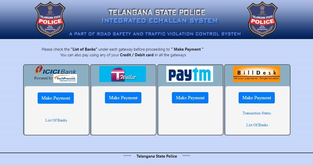 Hyderabad traffic challan pay online